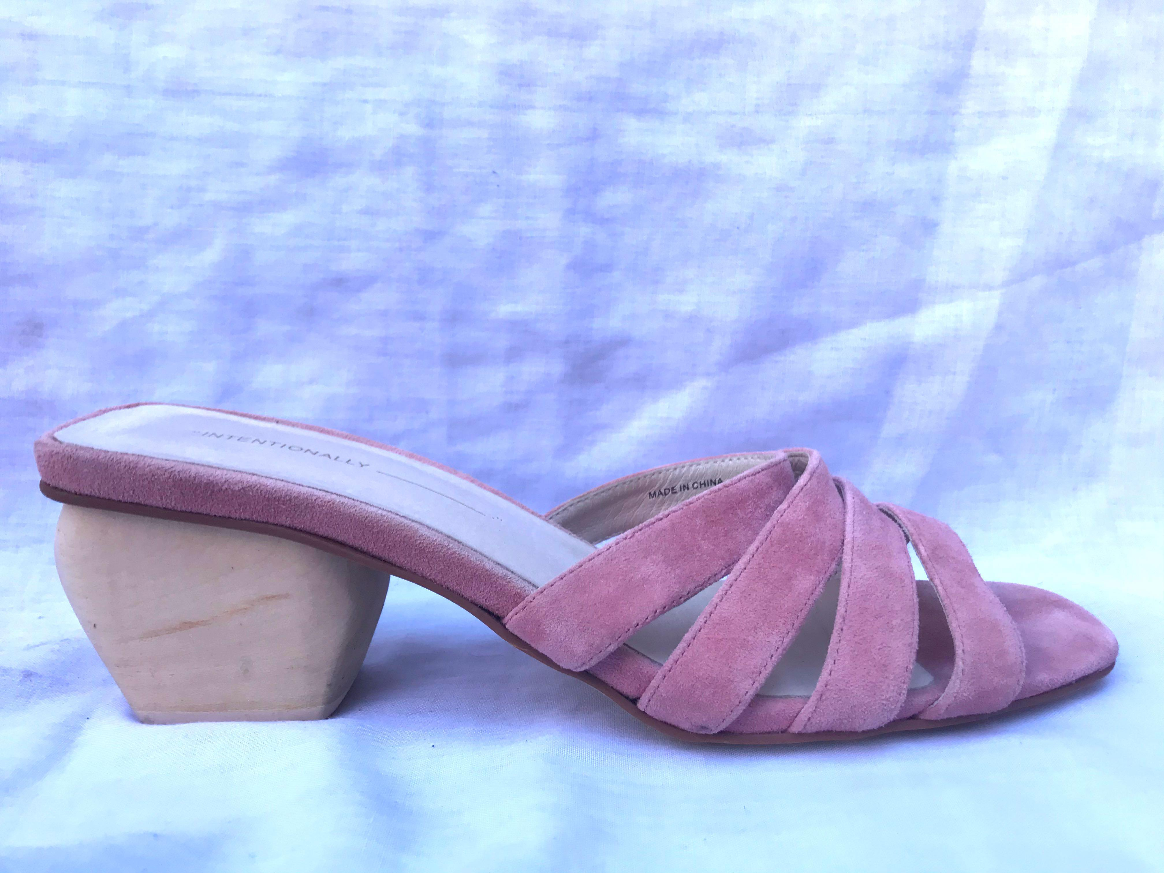 Intentionally Blank pink suede slides with wooden block heel