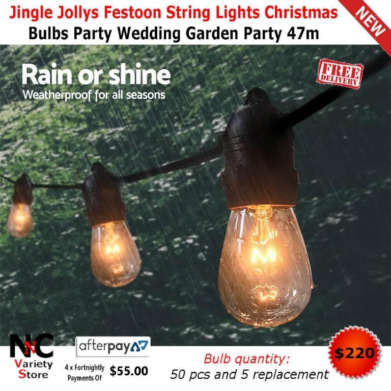 Jingle Jollys Festoon String Lights Christmas Bulbs Party Wedding Garden Party 47m