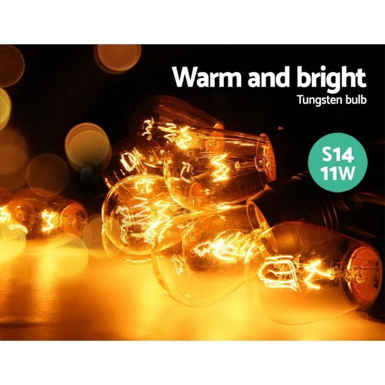Jingle Jollys Festoon String Lights Christmas Bulbs Party Wedding Garden Party 47m