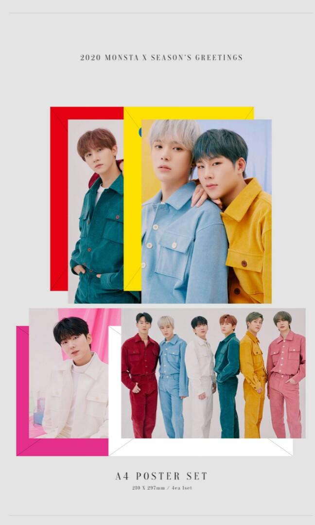 [LOOSE ITEMS & PRE-ORDER] 2020 MONSTA X SEASON'S GREETINGS EVERY 'MON'TH A4 POSTER