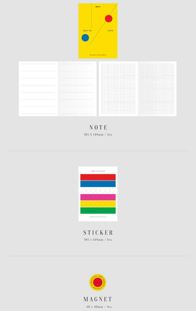 [LOOSE ITEMS & PRE-ORDER] 2020 MONSTA X SEASON'S GREETINGS EVERY 'MON'TH NOTE/ MAGNET