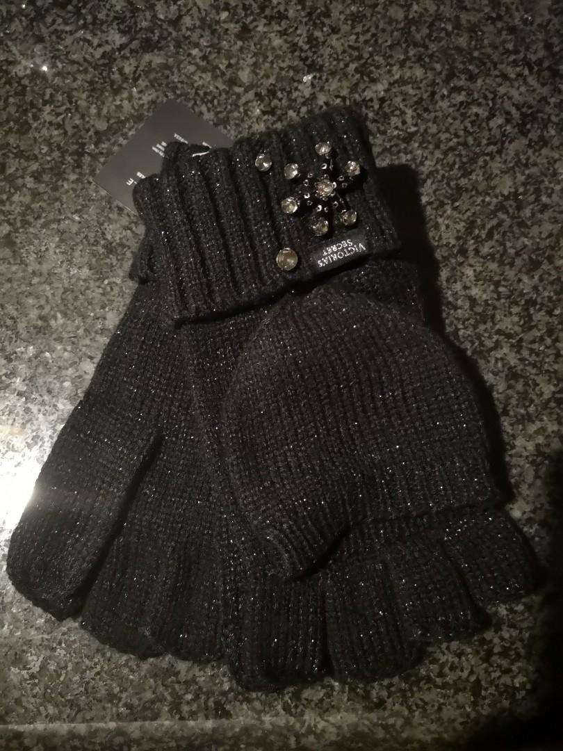 NEW! Victoria's Secret Snowflake Sparkle Convertible Mittens