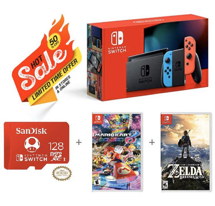 Nintendo Switch with Neon Blue and Neon Red Joy‑Con - HAC-001