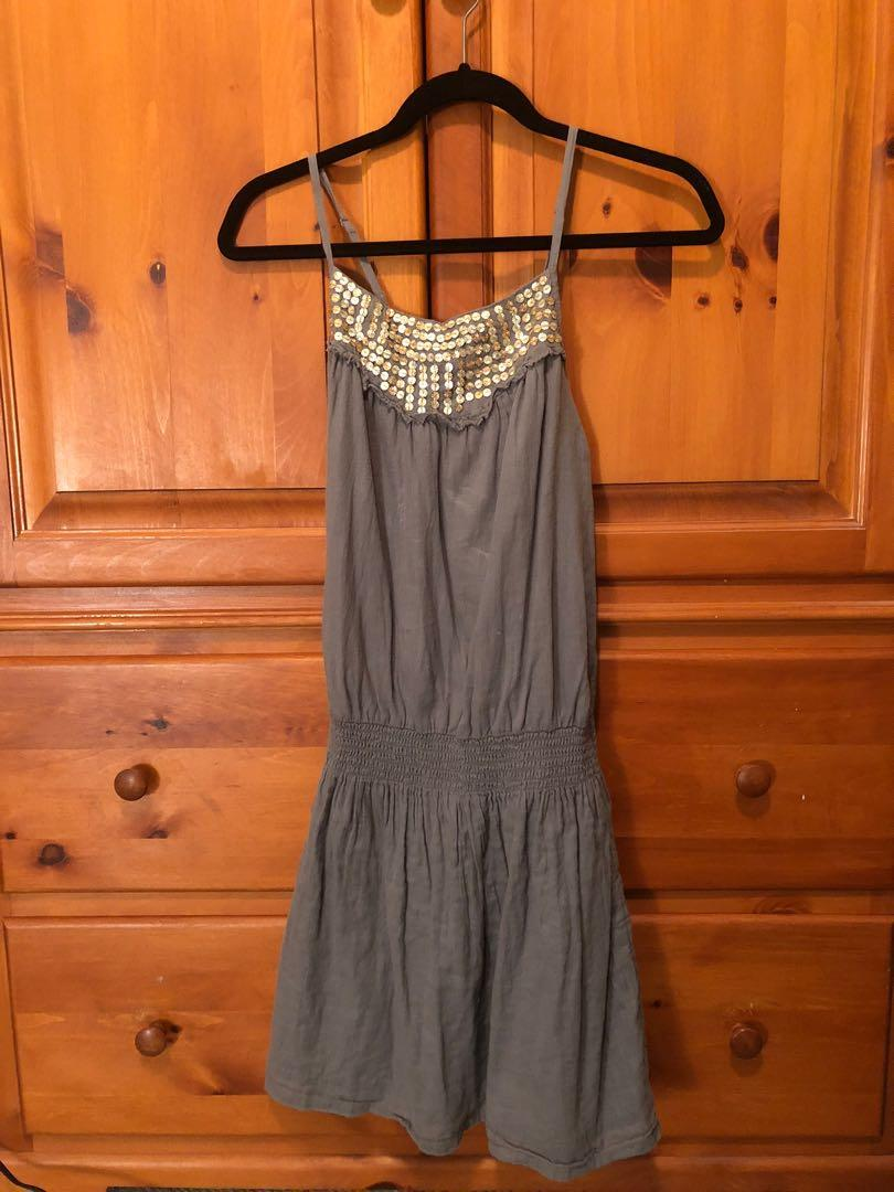 OLD NAVY - grey dress with gold collar, cross back (S)