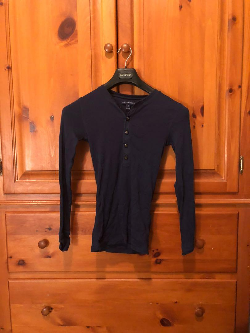 RALPH LAUREN - navy blue ribbed long sleeve Henley (S)