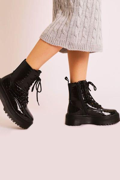 Rebellious fashion croc print patent double sole boots