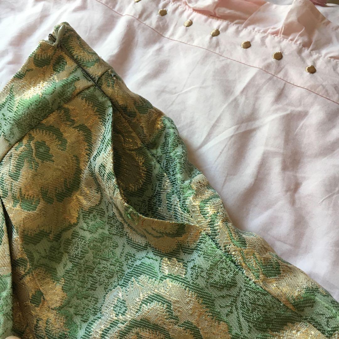 Shimmery metallic pleated pastel Alannah Hill Skirt