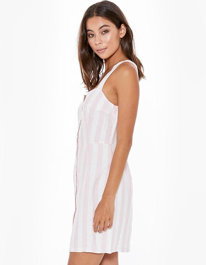 Steele Marley Linen Mini Dress in Musk Stripe - Size L RRP $199