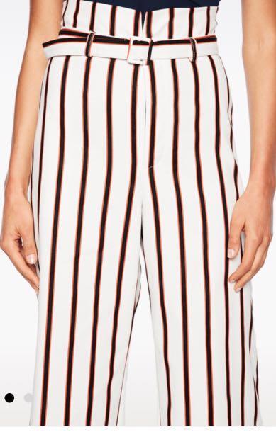 Stripe Belt Bardot Pant Size 8 BRAND NEW W TAGS High Wasted Wide Leg