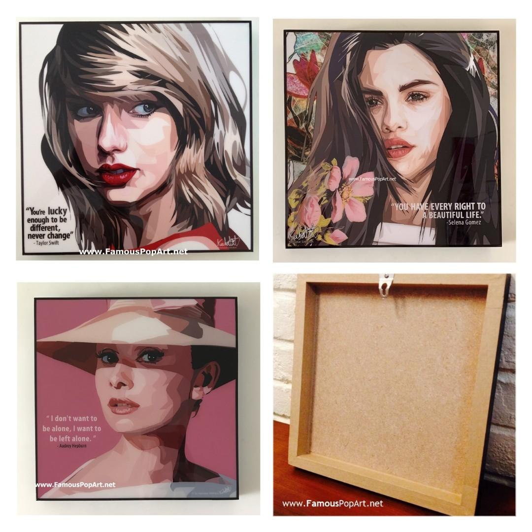 Taylor Swift Audrey Hepburn Selena PopArt! Portrait Pop Art
