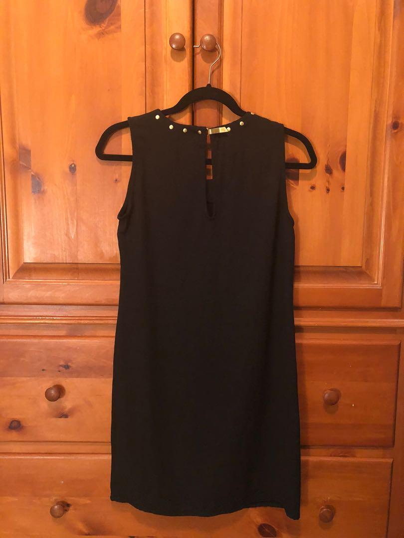 VERA MODA black mini dress with gold hardware (XS)
