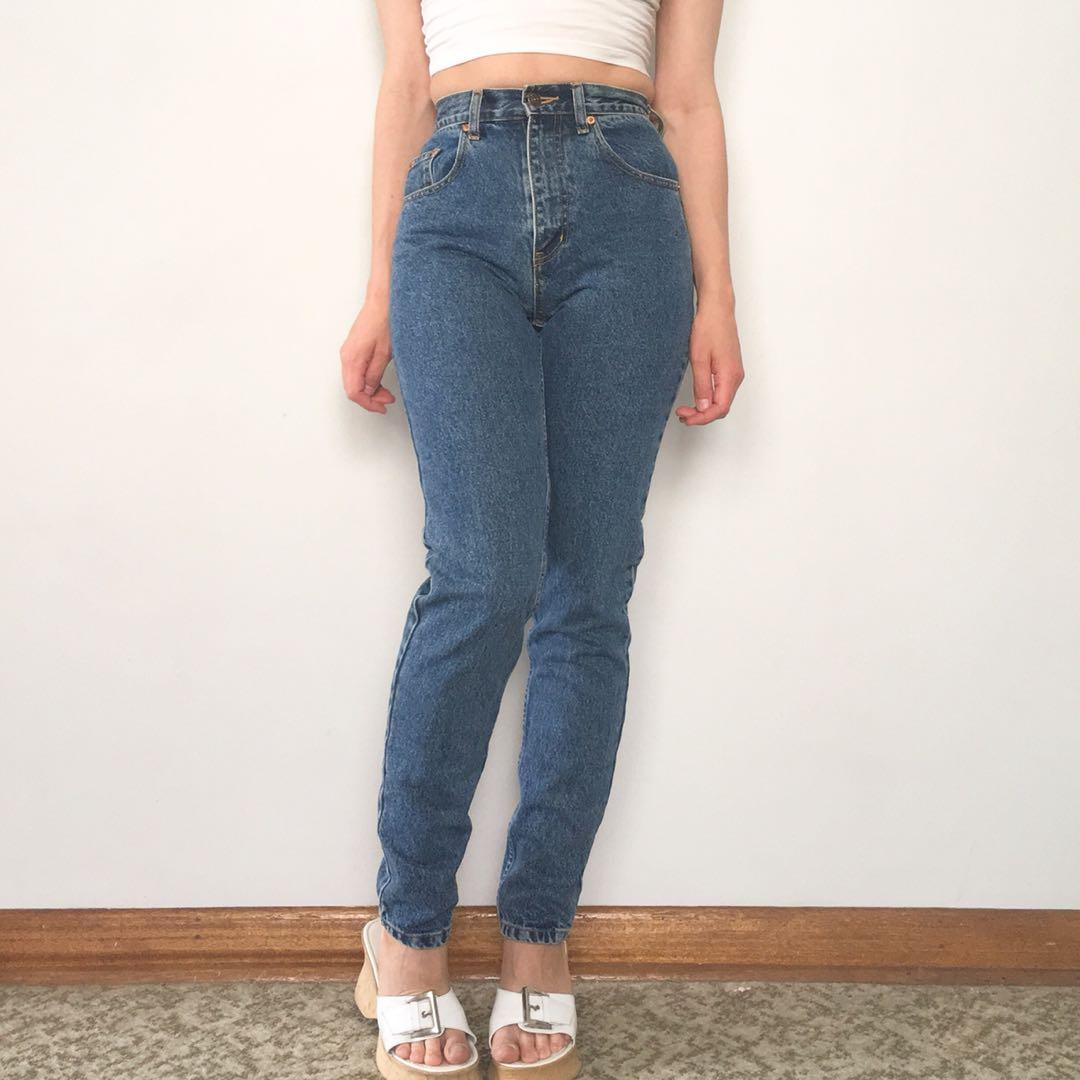 Vintage 90s Mustang mid blue light wash high waist jeans size XS 6