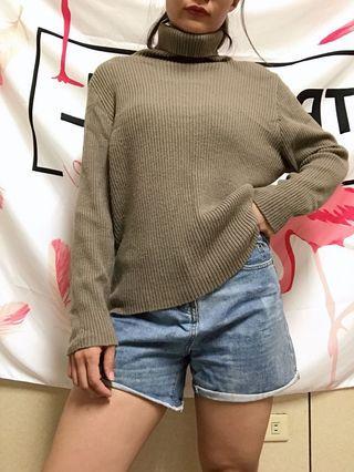 中長版高領毛衣