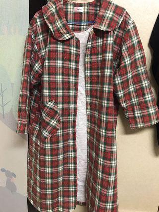 格子長版外套