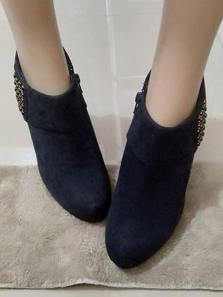 Authentic Daphne Midnight Blue Suede Ankle Boots