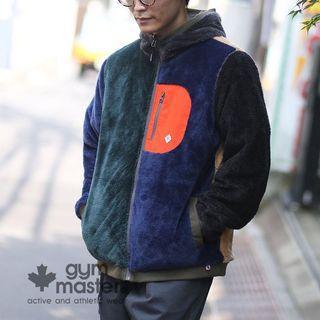 日本正品代購gym master cp值超高雙面穿兩面穿兩穿毛毛羔羊泰迪熊保暖外套防風夾克連帽外套拼接毛毛不撞衣男女可穿