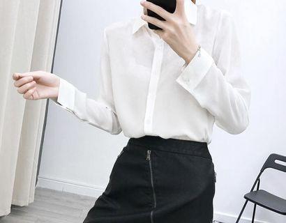 [售/換]長袖雪紡襯衫白色