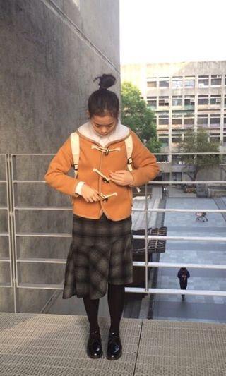 二手寬松加厚牛角扣短款呢子大衣羊羔毛學生連帽毛呢外套