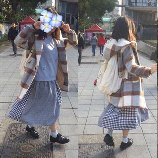 全新設計款可愛少女軟妹學院風重磅冬季羊羔絨厚格子毛呢日系牛角扣大衣