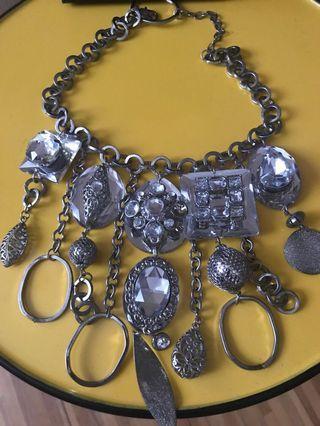 設計師品牌巴洛克風格銀色項鍊