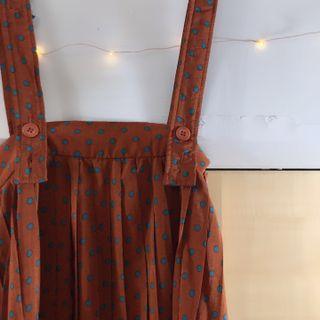 藍點🔵咖啡橘色百摺吊帶裙