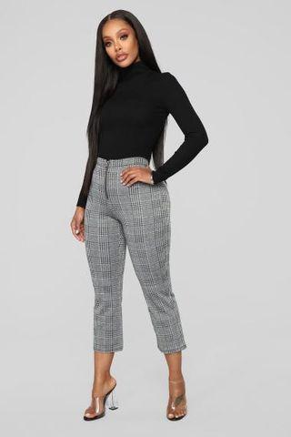 Fashion Nova Don't Crop Me Out Plaid Pants - White/Black