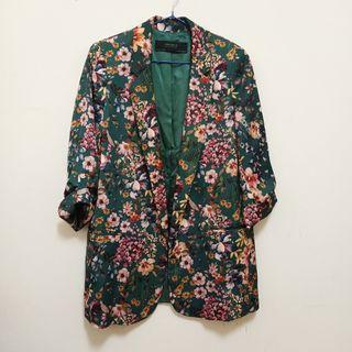 Zara墊肩手繪花卉西裝外套七分袖