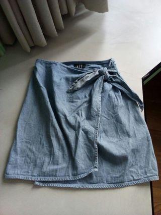 NET淺藍牛仔包臀短裙  一片裙 可換物