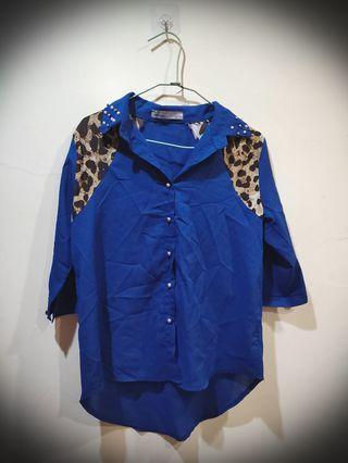 #換物 極新 豹紋雪紡深藍正式雪紡襯衫