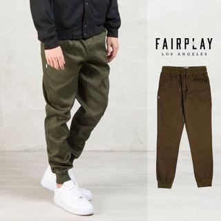 FairPlay JOGGER PANT 橄欖綠 縮口褲 32   休閒 直筒 素色 棉質 鬆緊帶 #出清2019