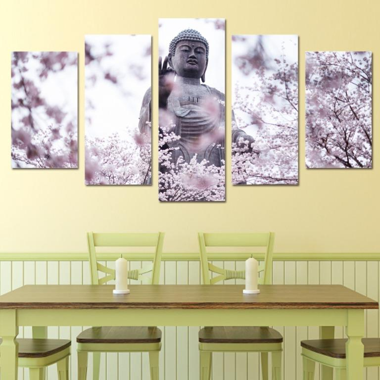 5 Panel Buddha Statue with Cherry Blossoms Canvas Art😊