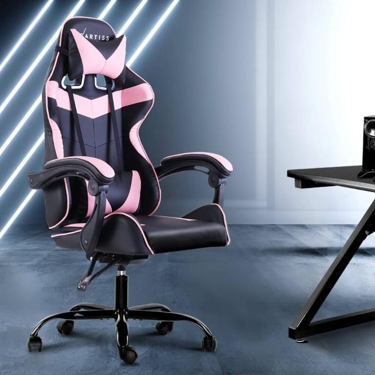 Artiss Office Chair Gaming Chair Computer Chairs Recliner PU Leather Seat Armrest Footrest Black Pink