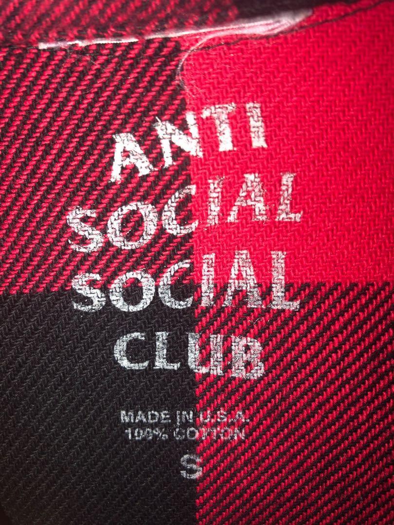 AUTHENTIC ANTI SOCIAL SOCIAL CLUB KKOCH RED FLANNEL