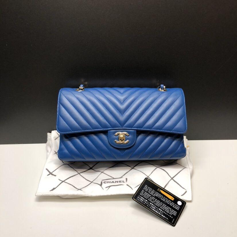 Authentic Pre-loved Chanel Medium Blue Lambskin Chevron Double Flap Light Gold Hardware