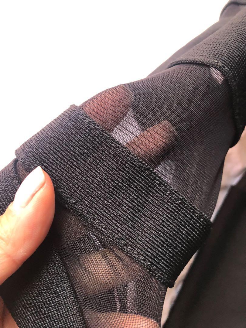 Bandage mesh long sleeve dress - Black - XS (copy of Balmain bandage dress)