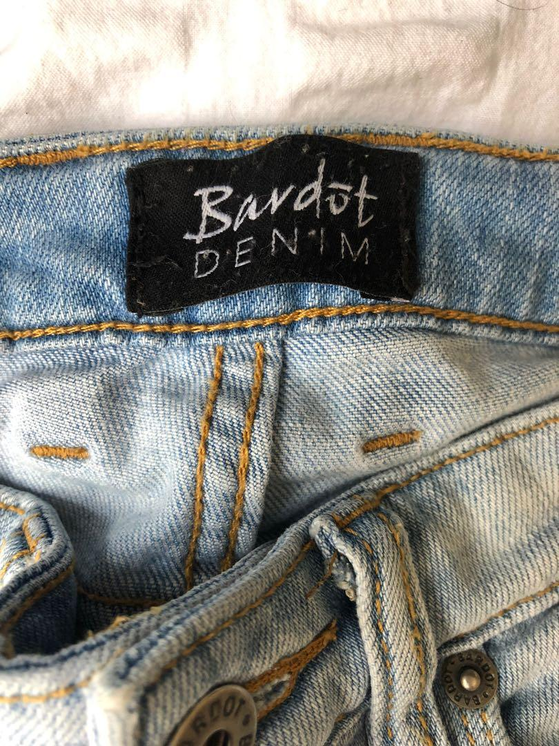 Bardot ripped full length jeans - acid wash - slim fit - size 6 -