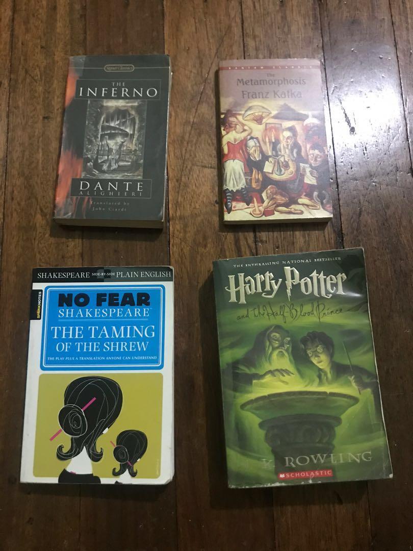 Dante Inferno, Metamorphosis Kafka, Harry Potter and the Half blood prince, taming of the shrew