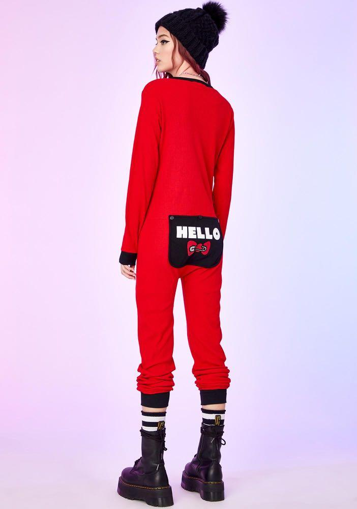 Dolls Kill x Hello Kitty DAYDREAM CRASHER ONESIE PAJAMA