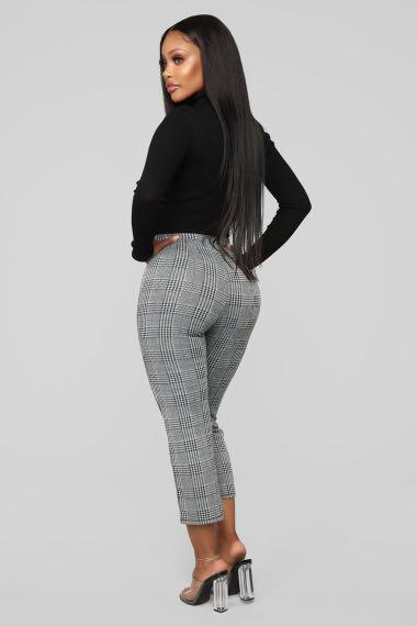 Fashion Nova Don't Crop Me Out Plaid Pants - White/Black