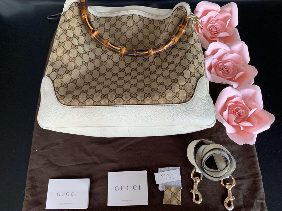 Gucci beige ebony GG canvas Peggy bamboo top handle bag