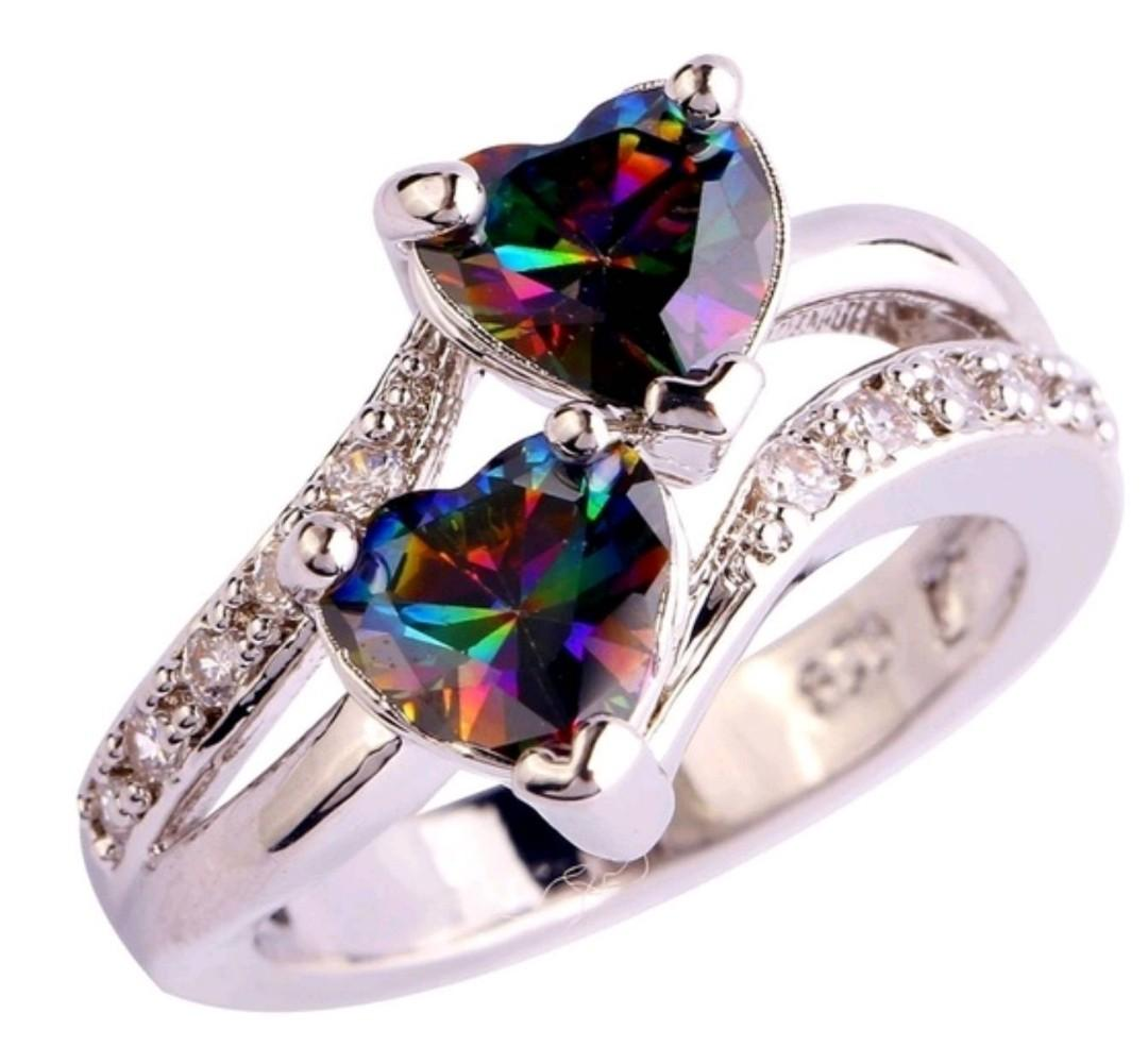 Heart Cut Rainbow & White 925 Sterling Silver Ring
