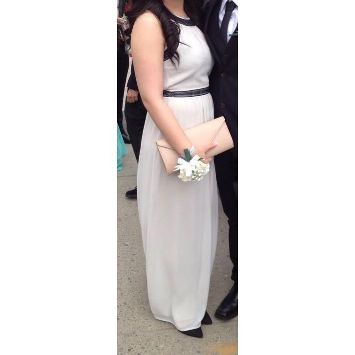 H&M Beige/Black Halter Neck Prom/Formal Dress Gown - Sz 8