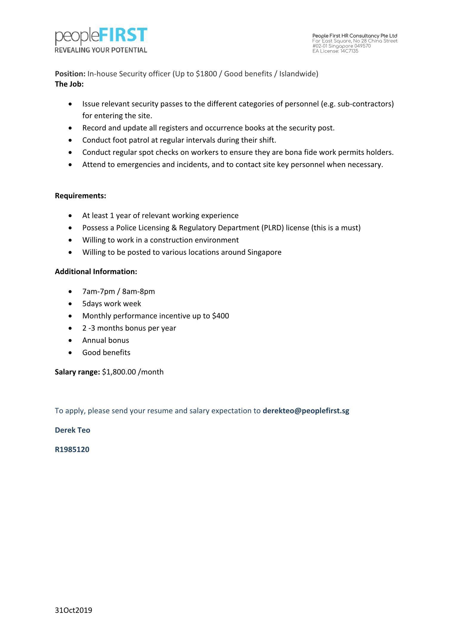 Inhouse Security (Basic up to $1500 / Islandwide )