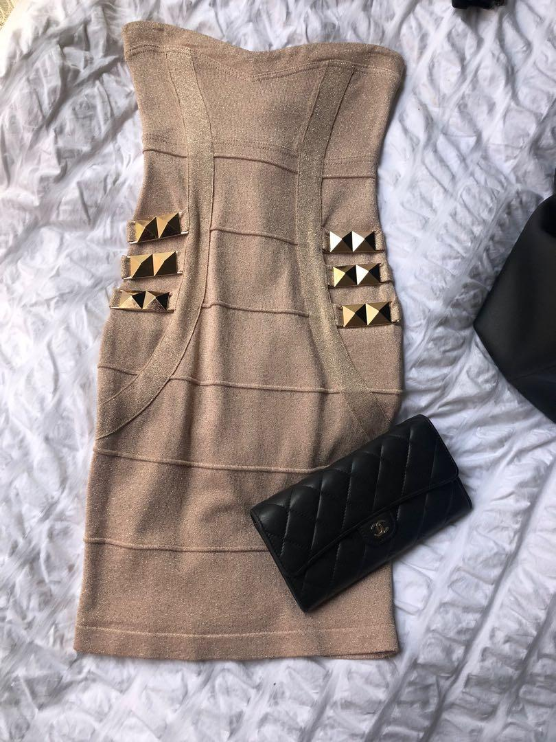 Lipsy London metallic rose gold strapless bandage dress - size 6