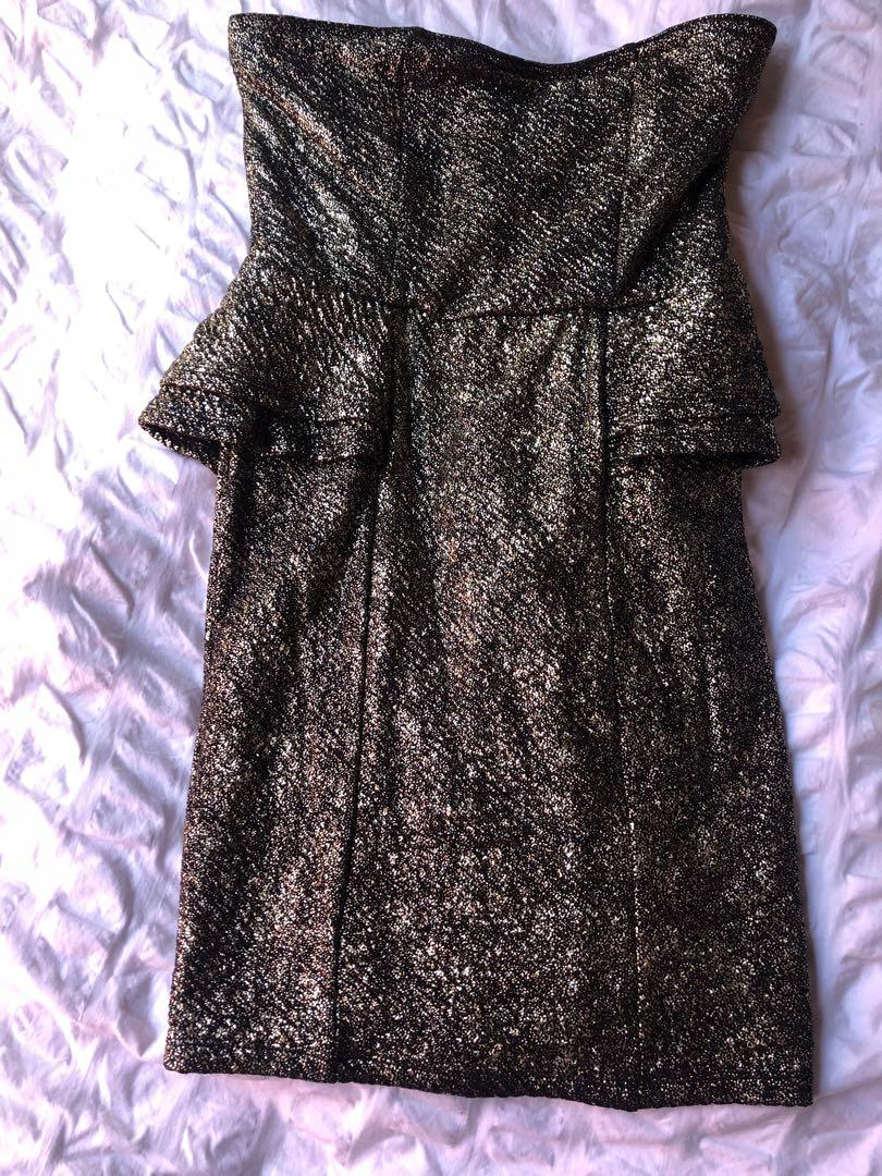 Miss Shop strapless peplum midi - black/gold sparkle - Size 8