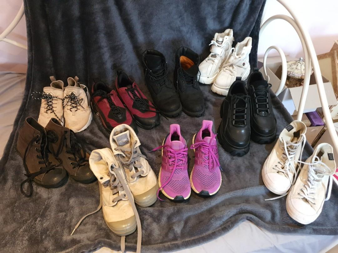 Nike, Adidas, timberlands, Windsor, converse , palladium shoes