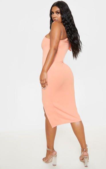 Pretty Little Thing Peach One Shoulder Bow Detail Midi Dress