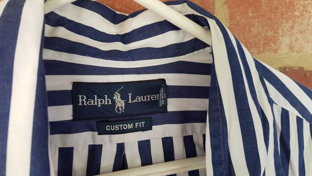 Ralph Lauren Button Up Shirt Blue & White Striped 17/XL
