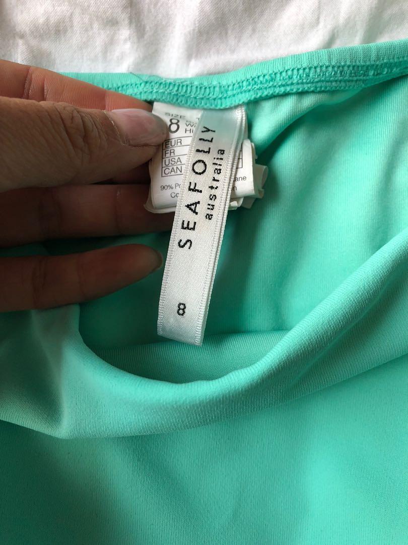 Seafolly triangle bikini set - mint green/black - size 8