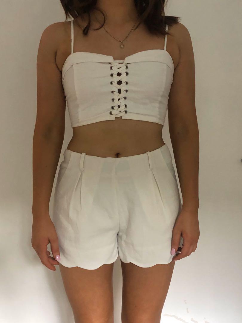 Showpo White/Cream size 10 shorts with scallop trimming